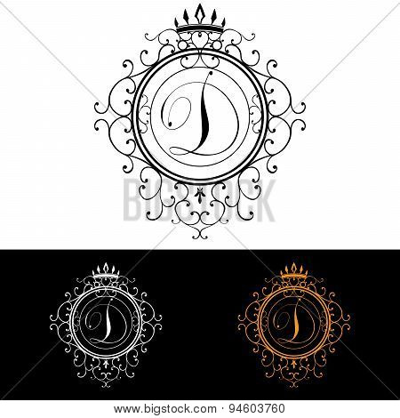 Letter D. Luxury Logo Template Flourishes Calligraphic Elegant Ornament Lines. Business Sign, Identi