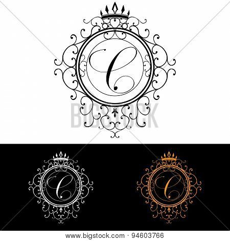Letter C. Luxury Logo Template Flourishes Calligraphic Elegant Ornament Lines. Business Sign, Identi