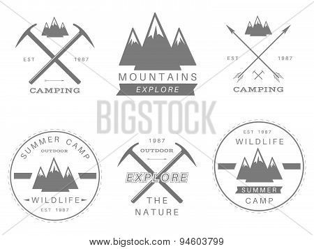 Set of summer camp badges and other outdoor logo's, emblems and labels.