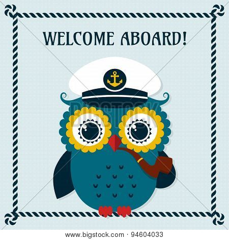 Welcome Aboard! Vector Card With Owl.