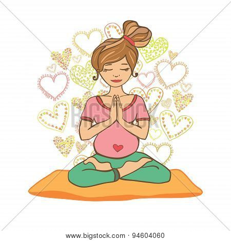 Young woman doing prenatal yoga