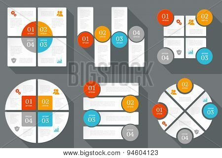 Infographics design template. Business concept with 4 options. Set of design elements.