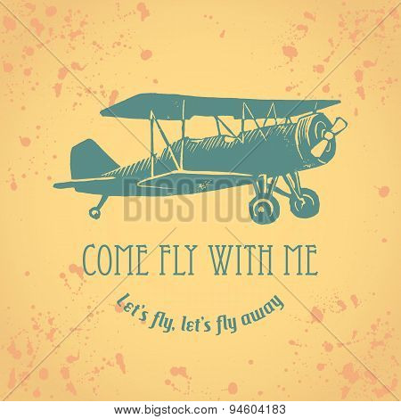 Vintage linocut airplane with text