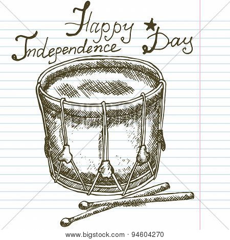 Hand Drawn Sketch Drum, Text Happy Independence Day
