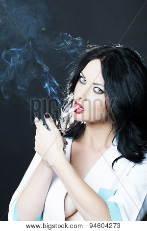 Cute Nurse Smoking