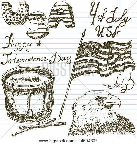 Hand Drawn Sketch American Bald Eagle Drum And Usa Flag, Forth Of July Set, Text Happy Independence