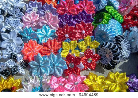 artificial flowers made of fabric texture background