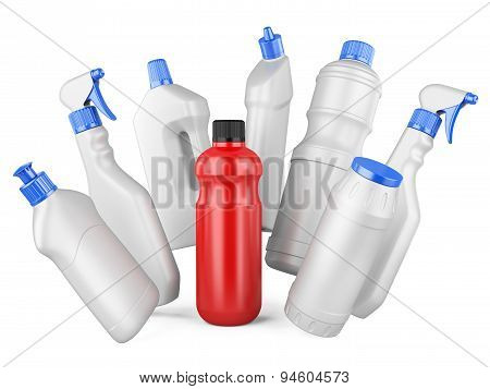 Set Of White Bottles And One Red Bottl With Detergents