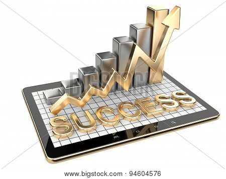 Gold Graph And Chart On Tablet Pc - Success Concept.