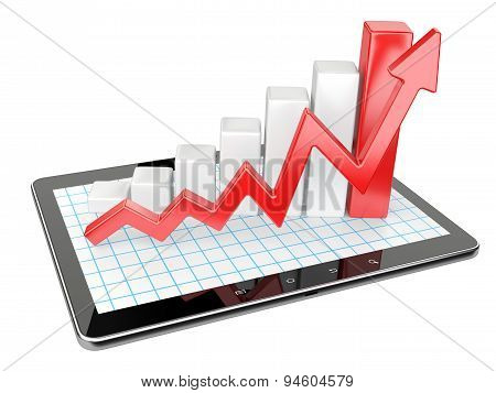 Graph And Chart On Tablet Pc - Business Statistic Concept.