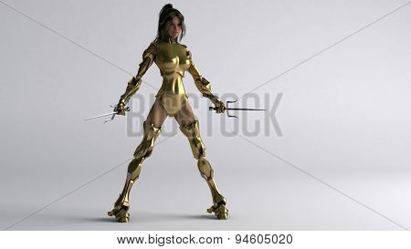cyborg girl with golden armor and sai
