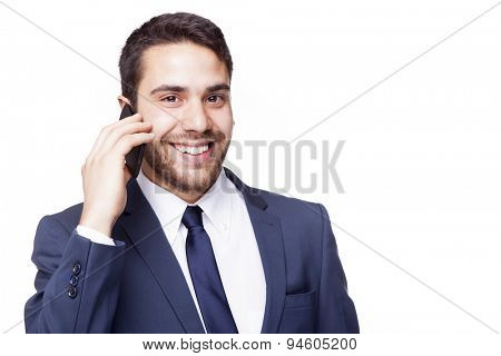Business man talking on cell phone, isolated on white background