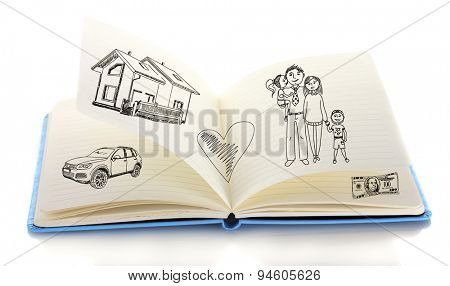 Open book with drawings isolated on white