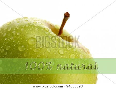 Fresh green apple and space for your text isolated on white