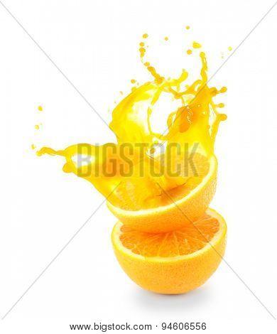 Orange juice splashes isolated on white