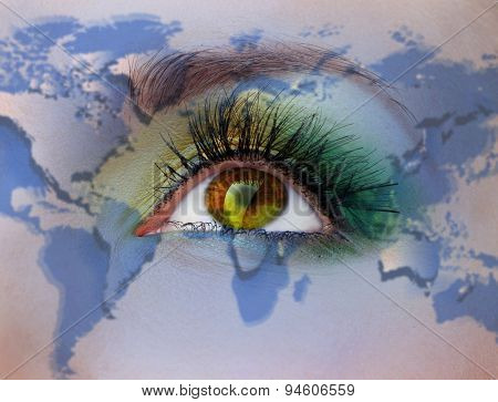 Human face with painted map of world