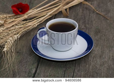 Black Coffee, Wheat And Flower Of Red Poppy