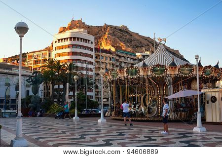 Evening in Alicante, Spain with Castle and Carousel
