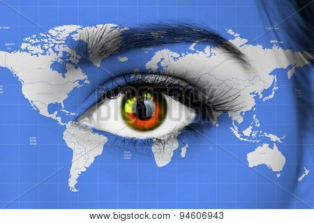 Human eye with map of world