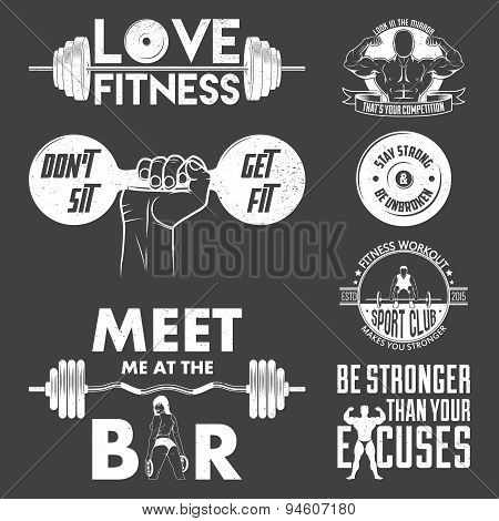 Fitness Vector Set. Vintage Elements And Labels.