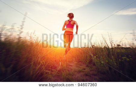 Young woman running on a rural road at sunset in summer field. Lifestyle sports background