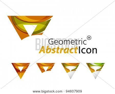 Abstract geometric company logo shape. illustration of universal shape concept made of various wave overlapping elements