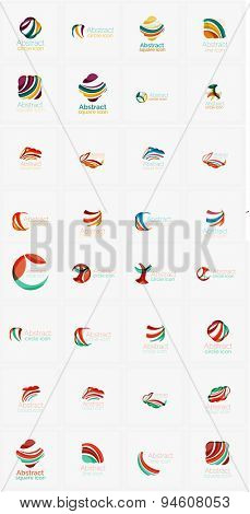 abstract company logos mega collection, loops, concepts swirls waves. Modern universal idea business icons isolated on white