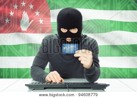 Concept Of Cybercrime With National Flag On Background - Abkhazia