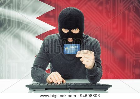Concept Of Cybercrime With National Flag On Background - Bahrain