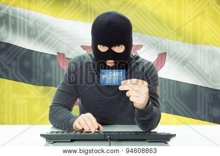 Concept Of Cybercrime With National Flag On Background - Brunei