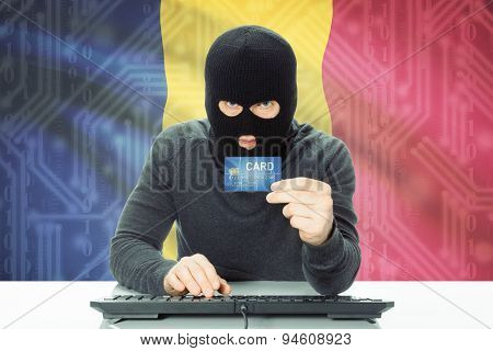 Concept Of Cybercrime With National Flag On Background - Chad