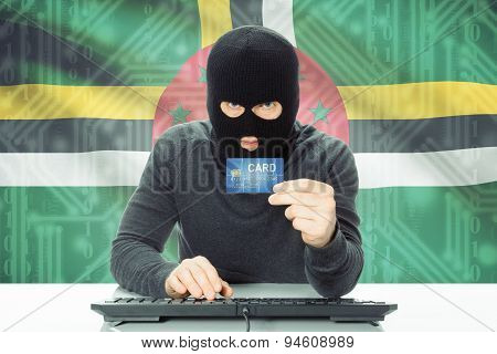 Concept Of Cybercrime With National Flag On Background - Dominica