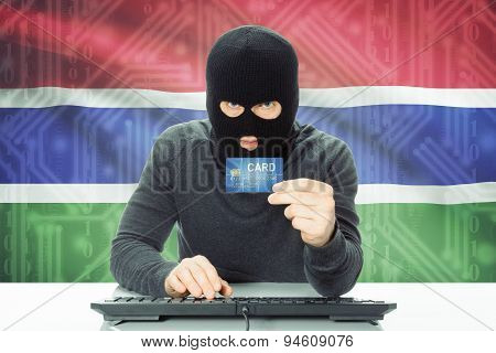 Concept Of Cybercrime With National Flag On Background - Gambia