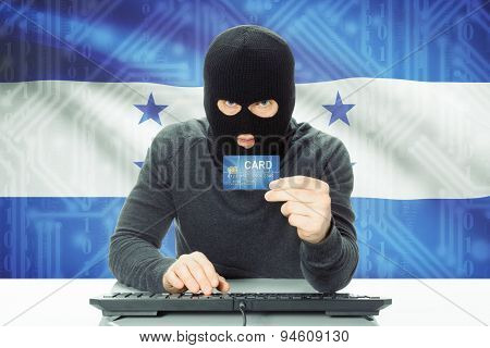 Concept Of Cybercrime With National Flag On Background - Honduras