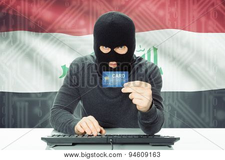 Concept Of Cybercrime With National Flag On Background - Iraq