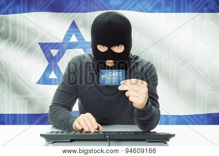 Concept Of Cybercrime With National Flag On Background - Israel