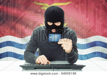 Concept Of Cybercrime With National Flag On Background - Kiribati