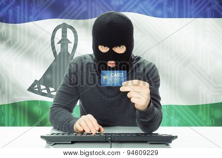 Concept Of Cybercrime With National Flag On Background - Lesotho