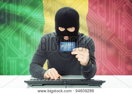 Concept Of Cybercrime With National Flag On Background - Mali