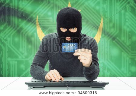 Concept Of Cybercrime With National Flag On Background - Mauritania