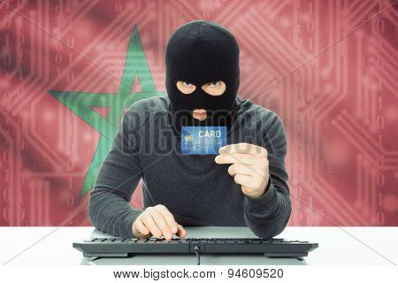 Concept Of Cybercrime With National Flag On Background - Morocco