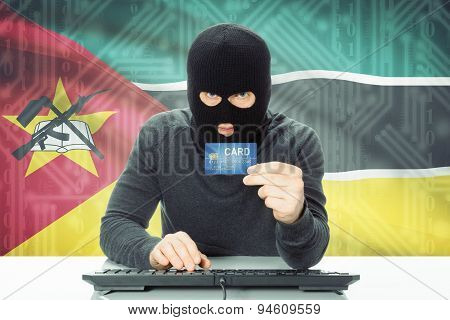 Concept Of Cybercrime With National Flag On Background - Mozambique