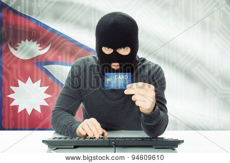 Concept Of Cybercrime With National Flag On Background - Nepal