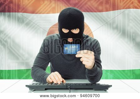 Concept Of Cybercrime With National Flag On Background - Niger