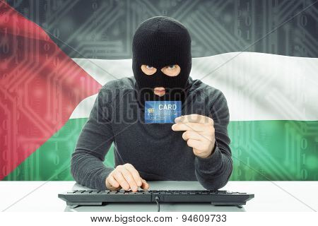 Concept Of Cybercrime With National Flag On Background - Palestine