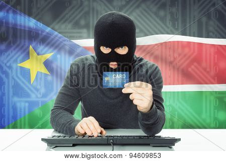 Concept Of Cybercrime With National Flag On Background - South Sudan