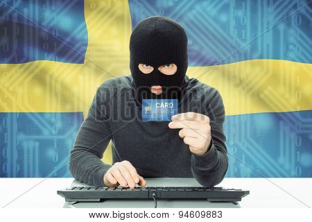 Concept Of Cybercrime With National Flag On Background - Sweden