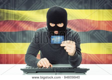 Concept Of Cybercrime With National Flag On Background - Uganda