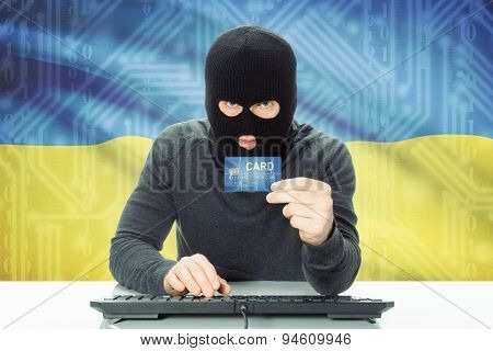 Concept Of Cybercrime With National Flag On Background - Ukraine