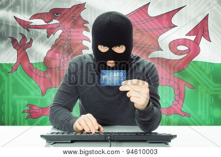 Concept Of Cybercrime With National Flag On Background - Wales